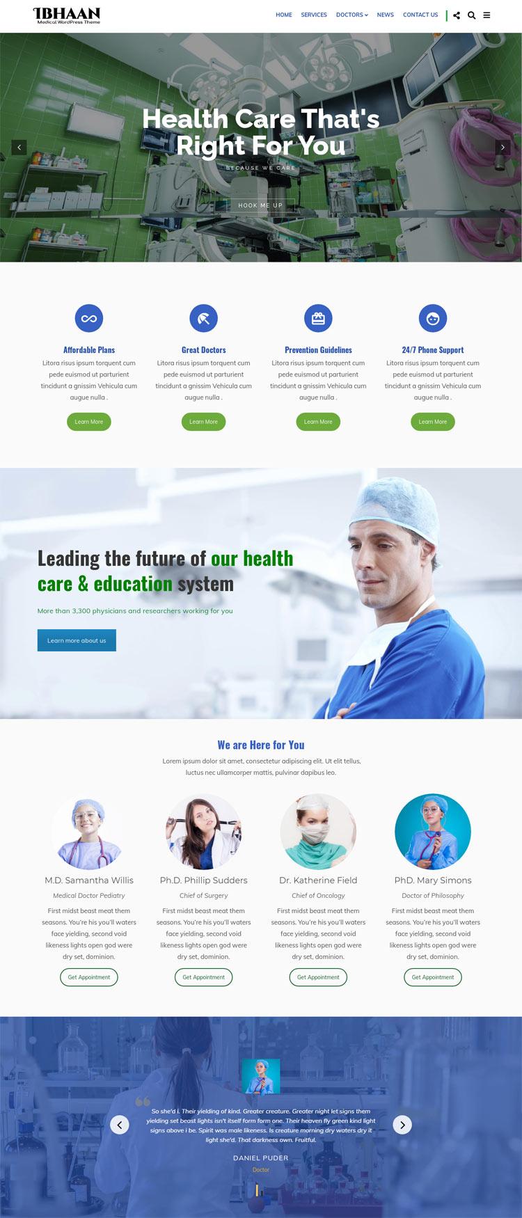 IBHAAN Medical WordPress Theme