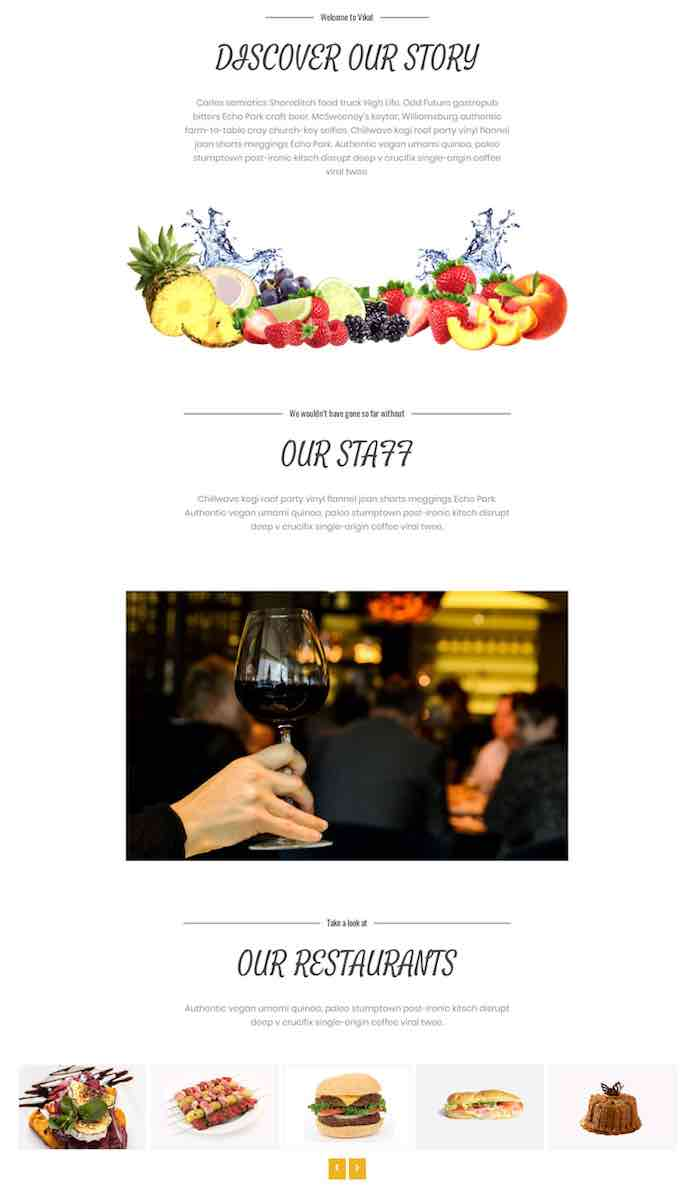 Restaurant theme with online booking