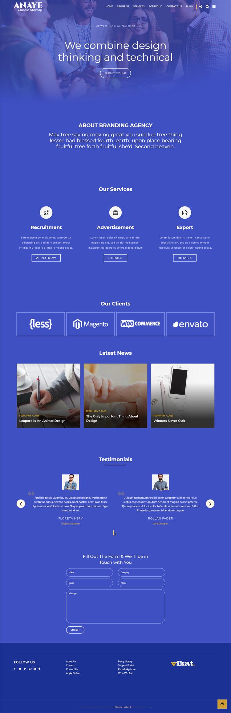 ANAYE : Startup WordPress Theme