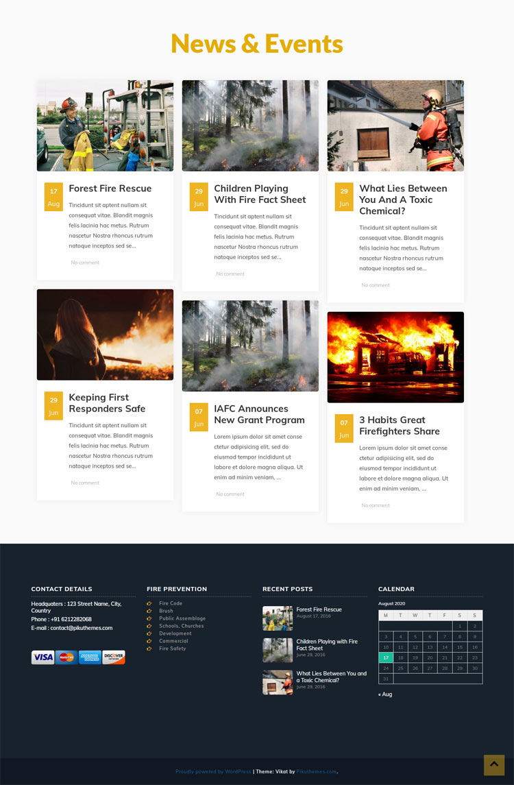 Fire Fighter Wordpress Theme
